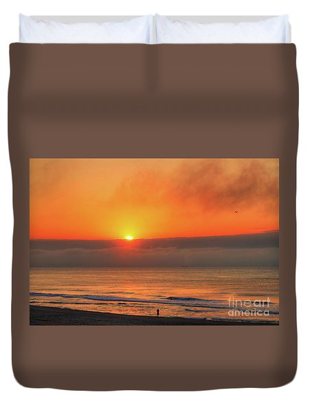 Orange Sunrise On Long Beach Island Duvet Cover