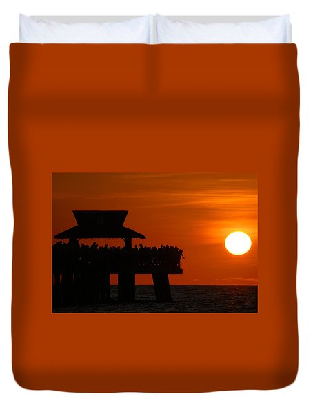 Orange Sunset In Naples Duvet Cover