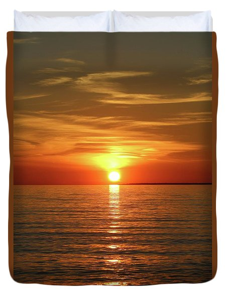 Orange Sunset Lake Superior Duvet Cover