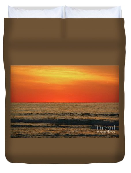 Orange Sunset On The Jersey Shore Duvet Cover