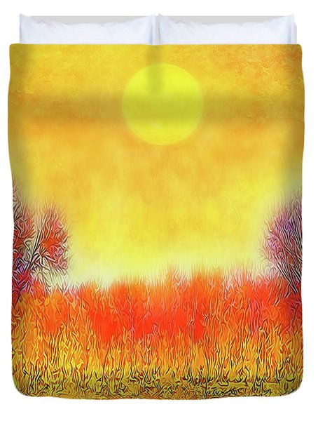 Orange Sunset Shimmer - Field In Boulder County Colorado Duvet Cover