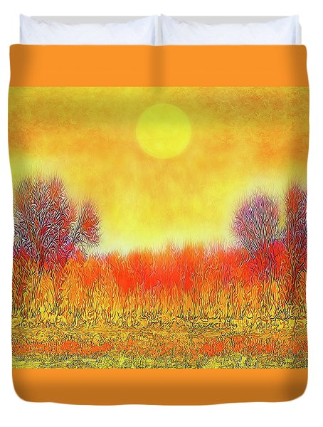 Duvet Cover featuring the digital art Orange Sunset Shimmer - Field In Boulder County Colorado by Joel Bruce Wallach