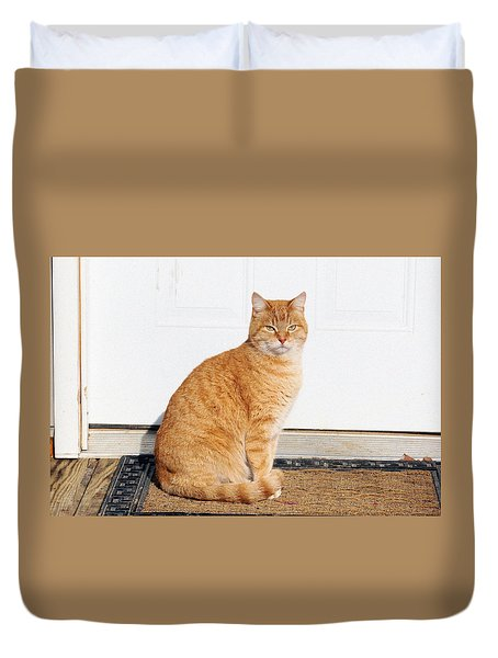 Duvet Cover featuring the digital art Orange Tabby Cat by Jana Russon