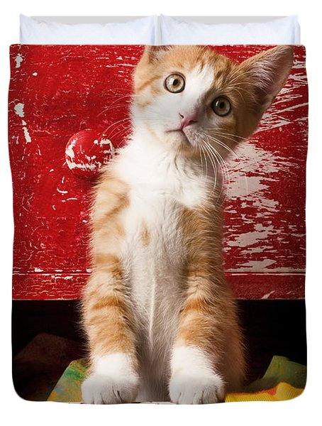 Orange Tabby Kitten In Red Drawer  Duvet Cover