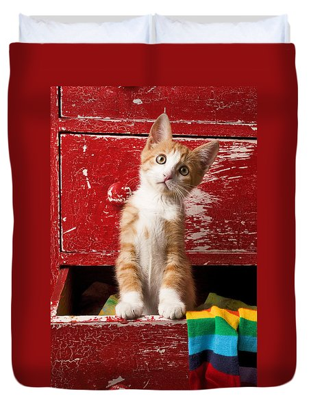 Orange Tabby Kitten In Red Drawer  Duvet Cover by Garry Gay