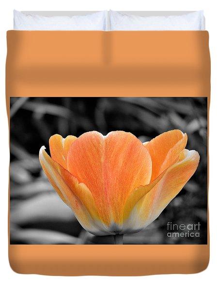 Orange Tea Cup Tulip Duvet Cover