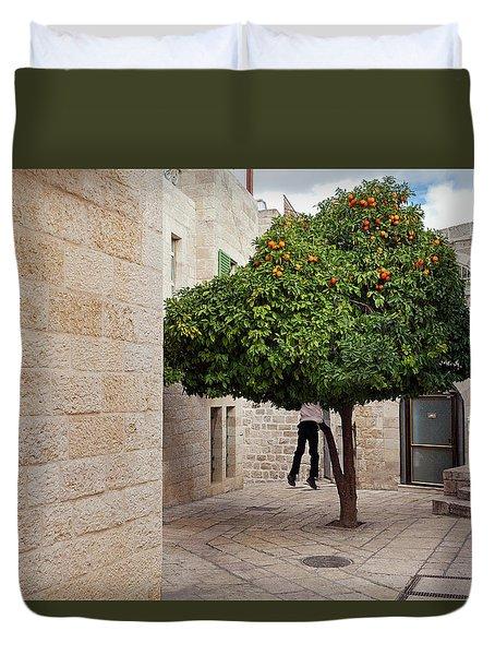 Orange Tree Duvet Cover by Marji Lang