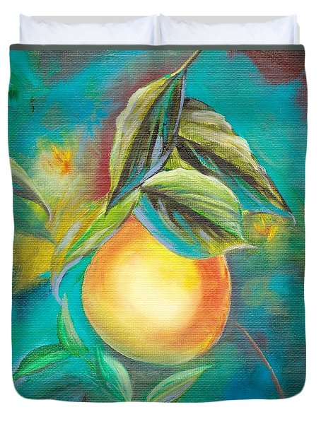 Duvet Cover featuring the painting Orange Tree by Mary Scott