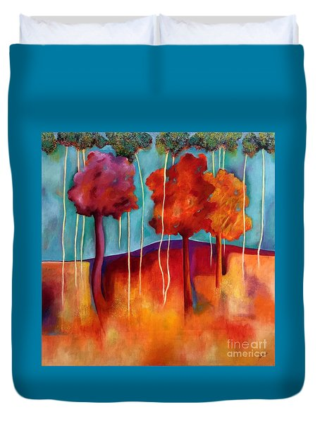 Duvet Cover featuring the painting Orange Trees by Elizabeth Fontaine-Barr