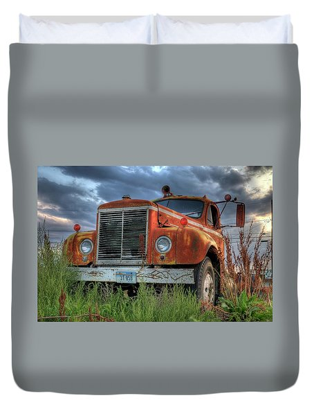Orange Truck Duvet Cover