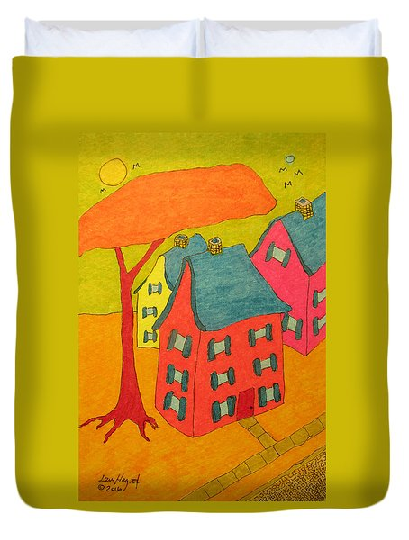 Orange Umbrella Tree And Three Homes Duvet Cover