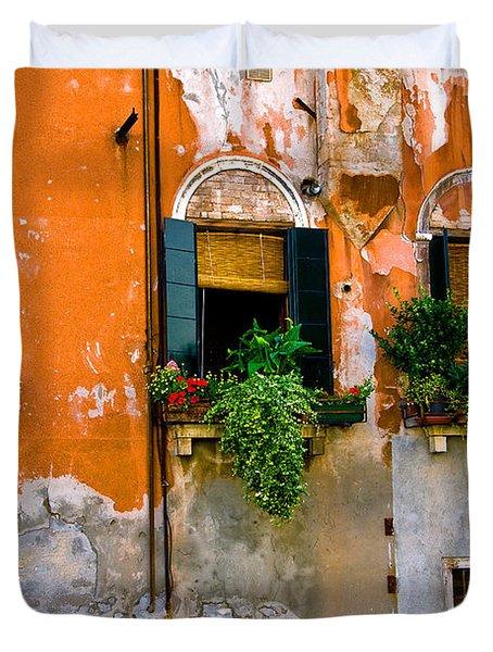 Orange Wall Duvet Cover