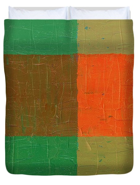 Orange With Brown And Teal Duvet Cover by Michelle Calkins
