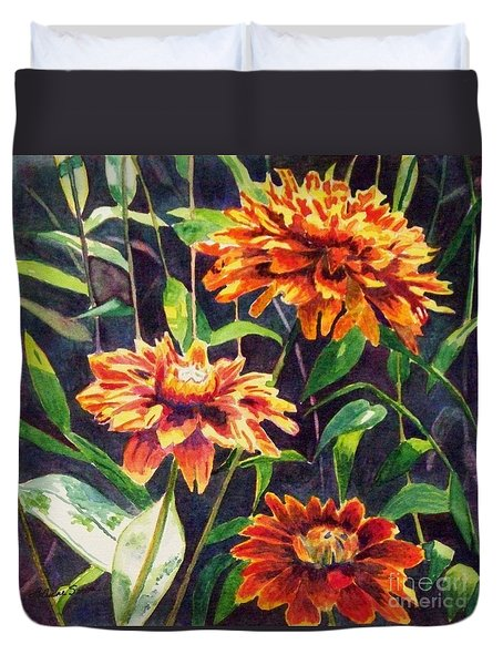 Duvet Cover featuring the painting Orange Zinnias by LeAnne Sowa