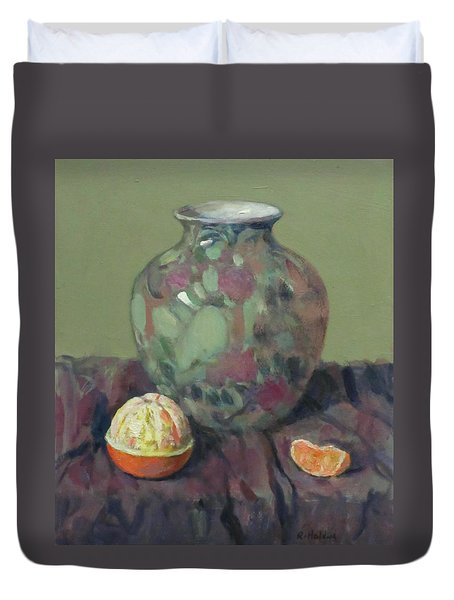 Oranges And Floral Porcelain Vase Duvet Cover