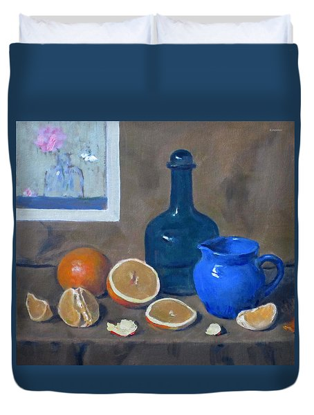 Oranges, Blue Bottle, Blue Creamer Duvet Cover