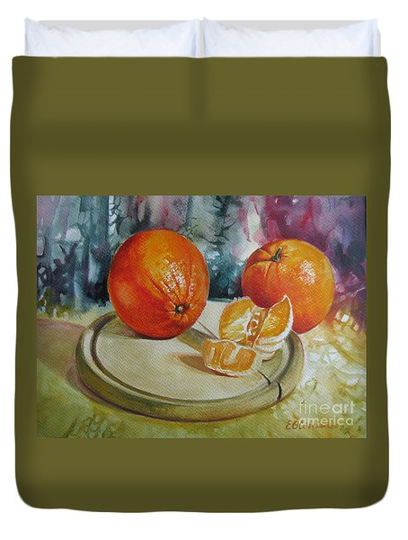 Duvet Cover featuring the painting Oranges by Elena Oleniuc