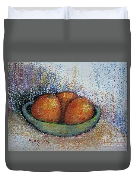 Oranges In Celadon Bowl Duvet Cover