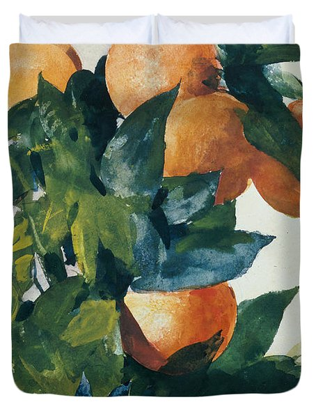 Oranges On A Branch Duvet Cover by Winslow Homer