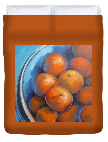 Oranges On Blue Acrylic Original Painting Duvet Cover by Chris Hobel