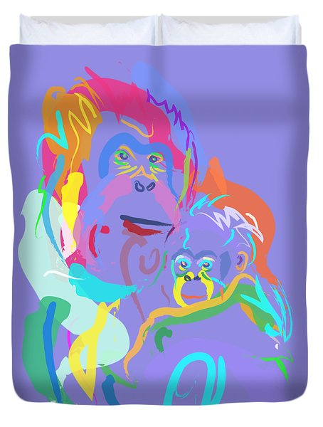 Orangutan Mom And Baby Duvet Cover