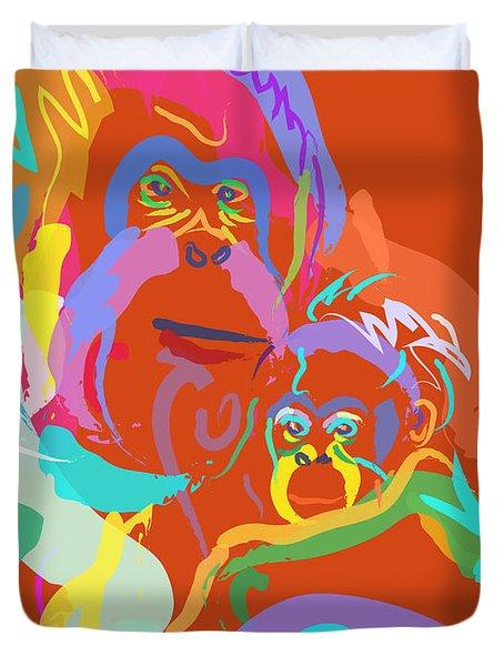 Orangutan Mom And Baby Duvet Cover by Go Van Kampen