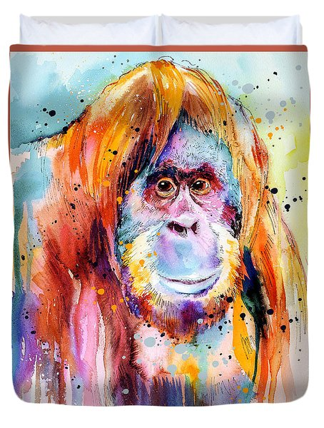Orangutan  Duvet Cover by Slavi Aladjova