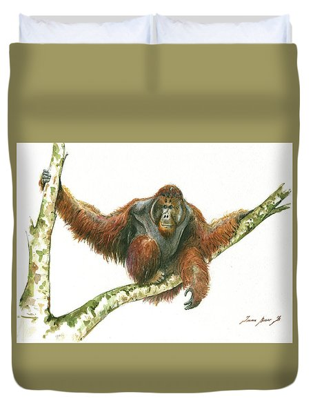 Orangutang Duvet Cover by Juan Bosco
