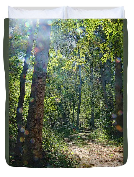 Orbs In The Woods Duvet Cover