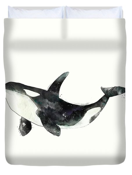 Orca From Arctic And Antarctic Chart Duvet Cover by Amy Hamilton