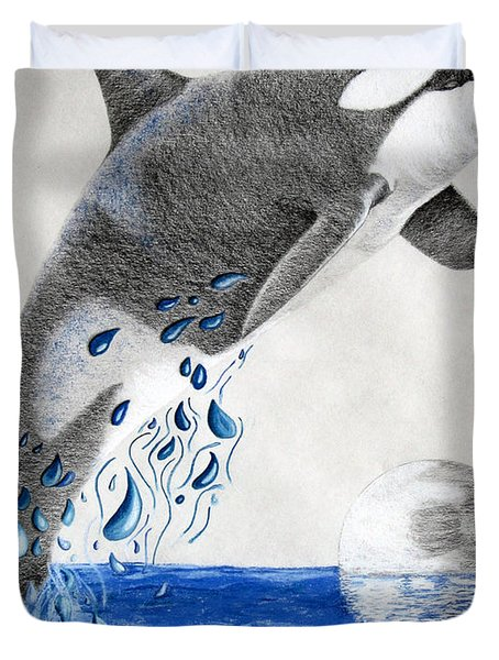 Duvet Cover featuring the drawing Orca by Mayhem Mediums