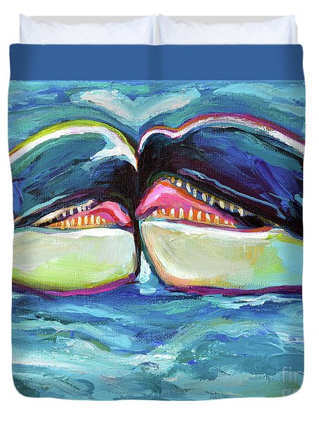 Duvet Cover featuring the painting Orca Valentine by Robert Phelps