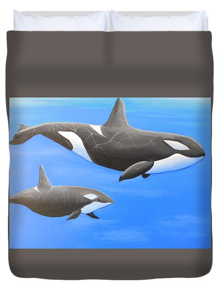 Orca With Baby Duvet Cover
