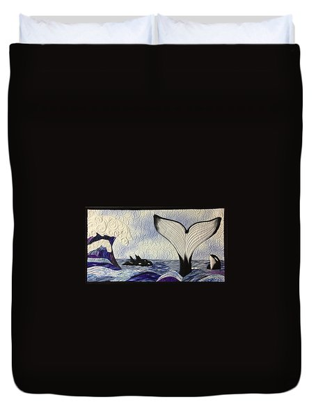 Orcas At Play Duvet Cover
