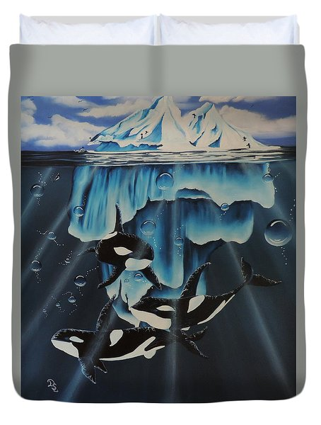 Duvet Cover featuring the painting Orcas Versus Glacier by Dianna Lewis