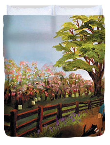 Orchard And Barn Duvet Cover