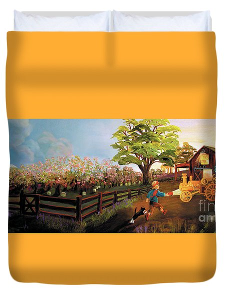 Duvet Cover featuring the painting Orchard And Barn by Donna Hall