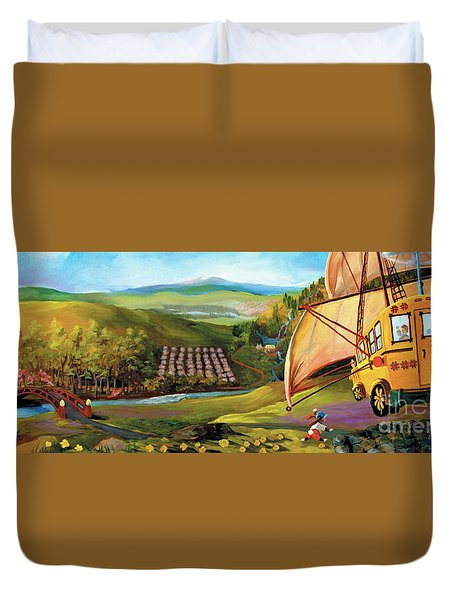 Duvet Cover featuring the painting Orchard Valley by Donna Hall