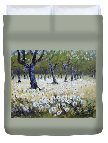 Orchard With Dandelions Duvet Cover