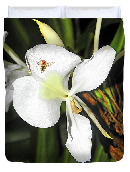 Orchid And Bee Duvet Cover