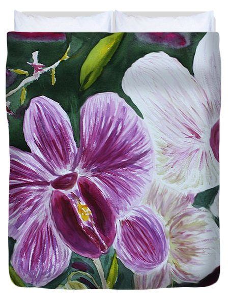 Duvet Cover featuring the painting Orchid At Aos 2010 by Donna Walsh