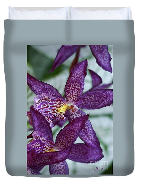 Duvet Cover featuring the photograph Orchid Awakening by John F Tsumas