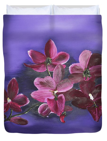 Orchid Blossoms On A Stem Duvet Cover