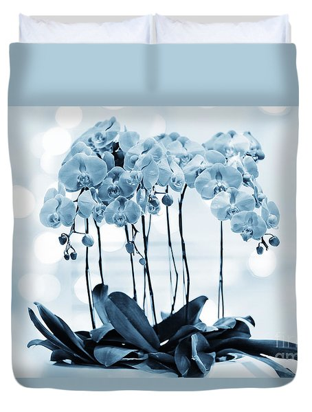 Duvet Cover featuring the photograph Orchid Flowers Blue Tone by Charline Xia