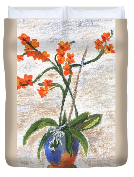 Duvet Cover featuring the painting Orchid by Jamie Frier