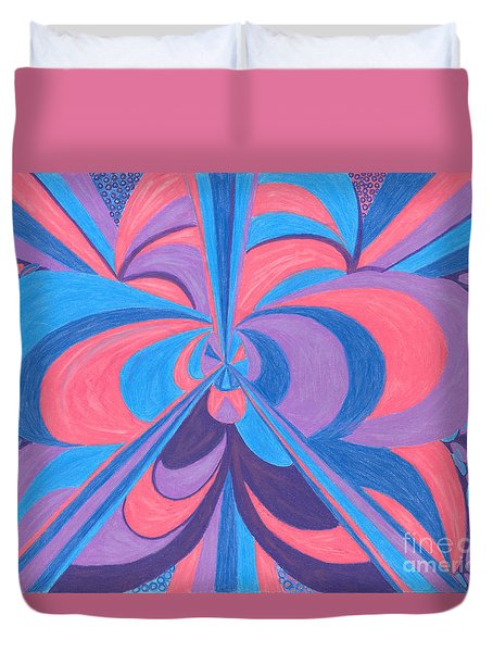 Duvet Cover featuring the drawing Orchid by Kim Sy Ok