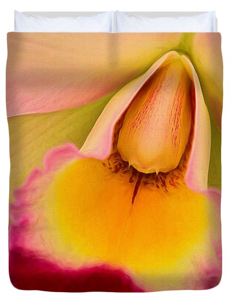 Orchid Painting Duvet Cover