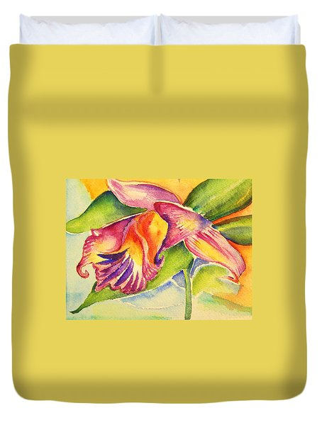 Duvet Cover featuring the painting Orchid by Patricia Piffath