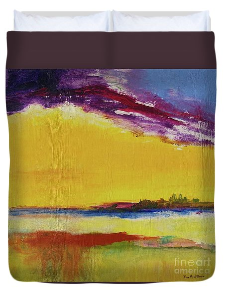 Duvet Cover featuring the painting Orchid Sky by Robin Maria Pedrero