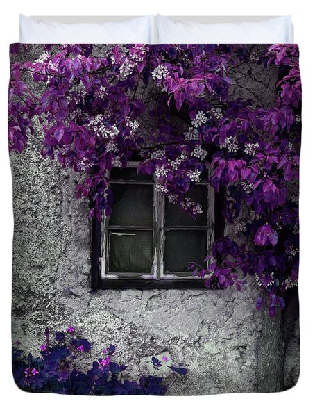 Duvet Cover featuring the photograph Orchid Vines Window And Gray Stone by Brooke T Ryan